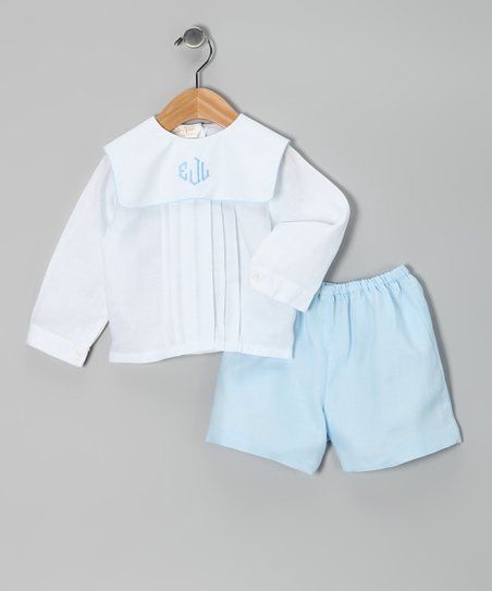 White Pin Tuck Monogram Top & Blue Shorts - Infant