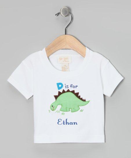 White 'D is for' Dinosaur Personalized Tee - Infant