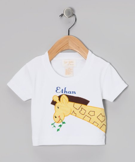 White Gentle Giraffe Personalized Tee - Infant & Toddler