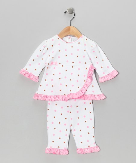 Pink & Chocolate Wrap Top & Pants - Infant