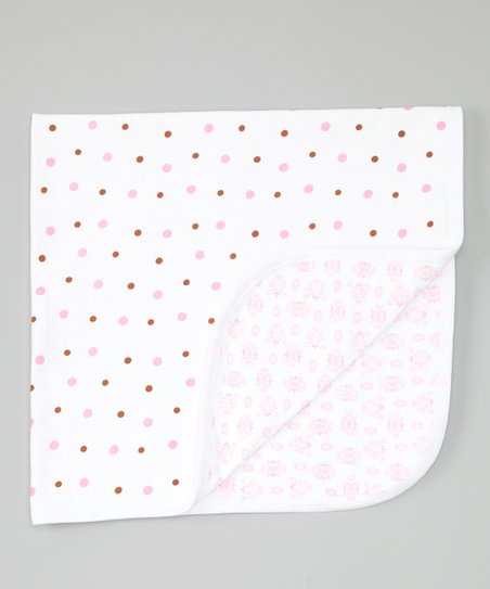 Pink & Chocolate Polka Dot Stroller Blanket