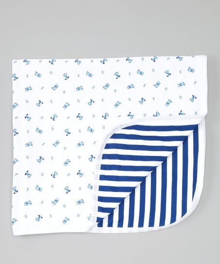 Navy Happy Dog Stroller Blanket