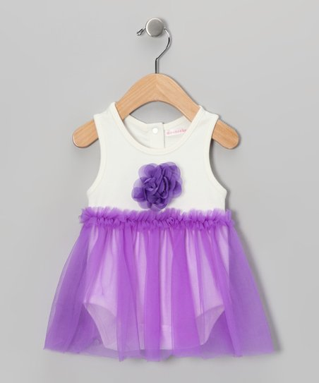 White &amp; Purple Floral Skirted Bodysuit - Infant