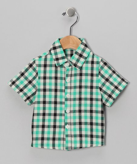 Green &amp; Navy Plaid Button-Up - Infant