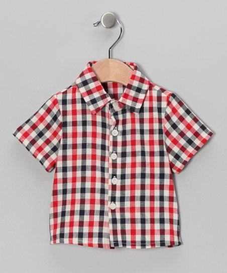 Red & Navy Plaid Button-Up - Infant