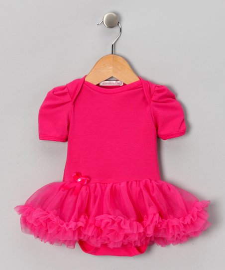 Hot Pink Ruffle Skirted Bodysuit - Infant