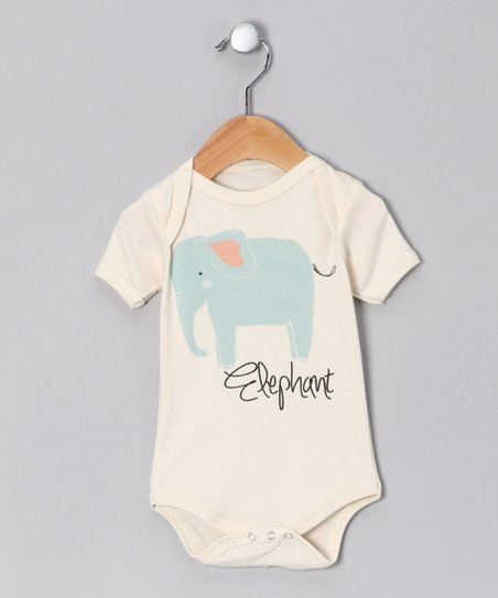Oatmeal 'Elephant' Organic Bodysuit - Infant