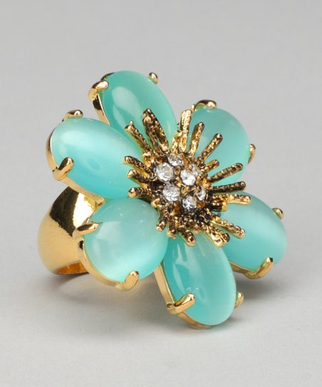 Jade & Gold Flower Ring