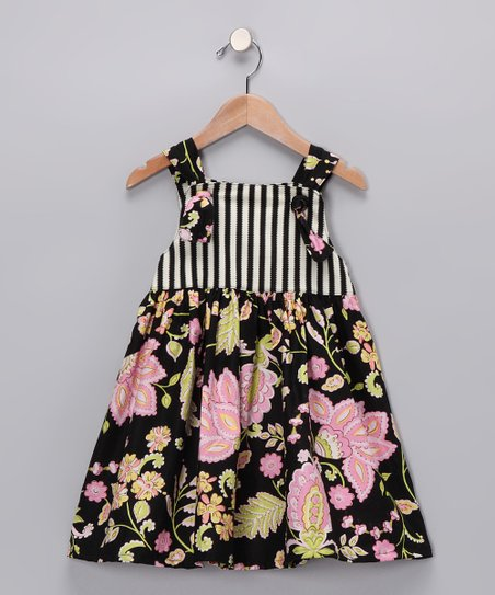 Black Floral Knot Dress - Infant & Girls