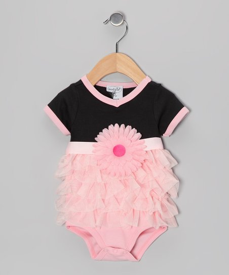 Black & Pink Perfectly Princess Ruffle Bodysuit - Infant