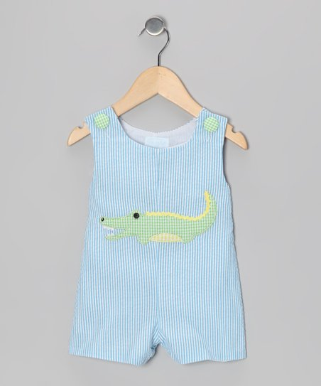 Blue & Green Gator Seersucker Shortalls - Infant & Toddler