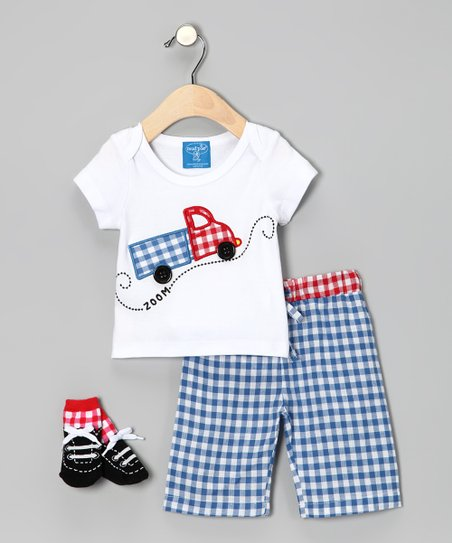Blue Gingham Truck Tee Set - Infant & Toddler
