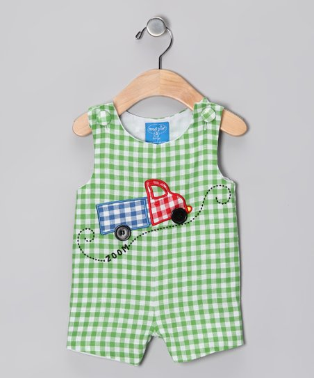 Green Gingham Truck Shortalls - Infant