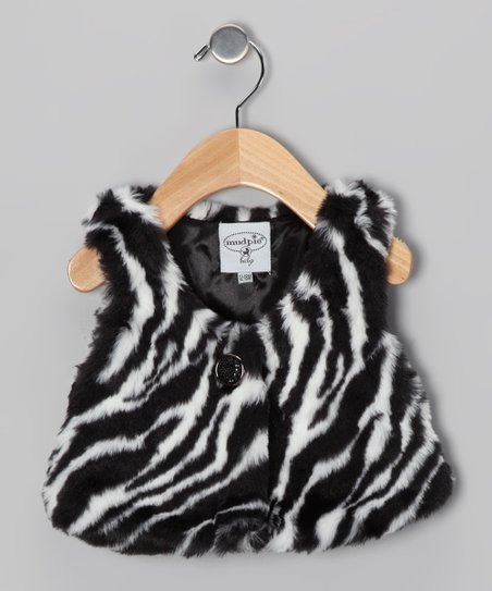 Zebra Medallion Button Faux Fur Vest - Infant, Toddler & Girls