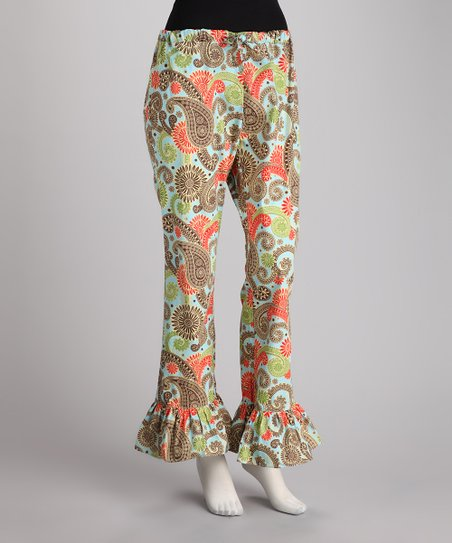 Blue & Brown Wild Paisley Pajama Pants - Women
