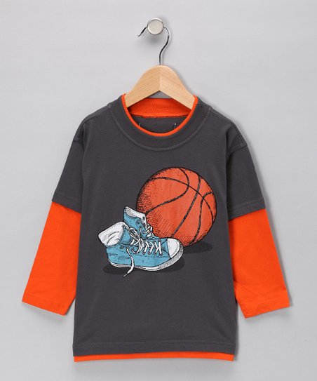 Steel Gray Basketball Shoe Layered Tee - Boys