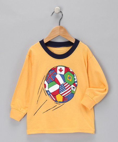 Gold World Soccer Tee - Boys