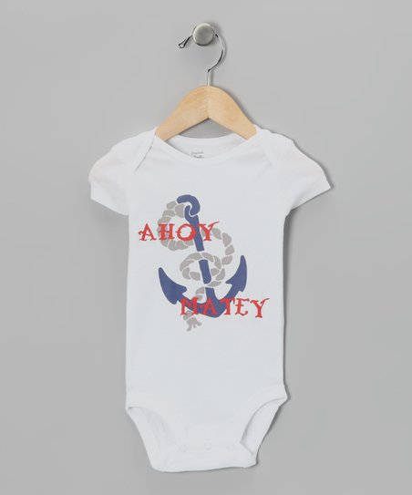 White 'Ahoy Matey' Bodysuit - Infant