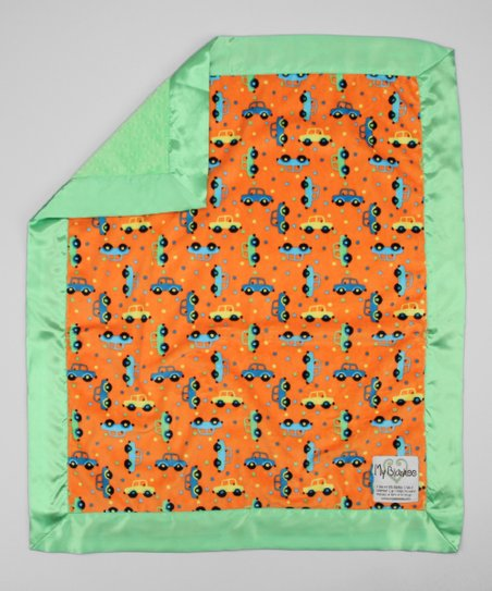 Orange & Lime Green Cars Stroller Blanket
