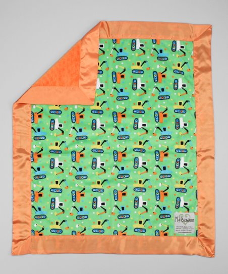 Lime Green & Orange Tractor Stroller Blanket