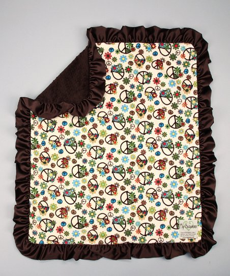 Beige & Chocolate Peace Flower Stroller Blanket