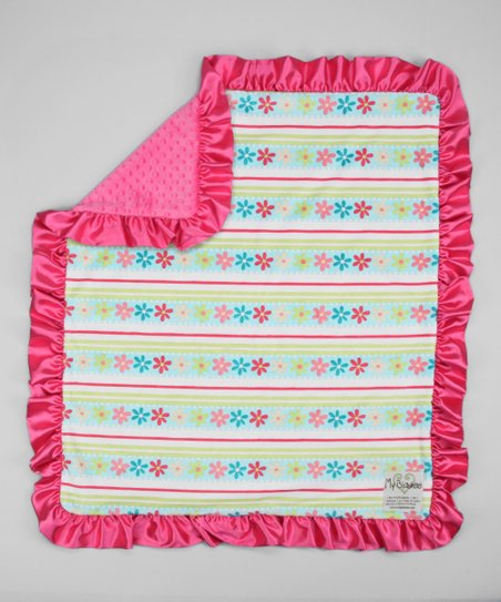 Aqua &amp; Raspberry Daisy Stripe Stroller Blanket