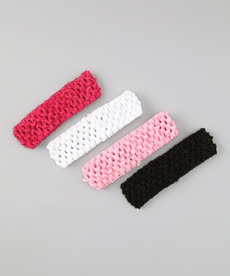 Pink & Hot Pink Crocheted Headband Set