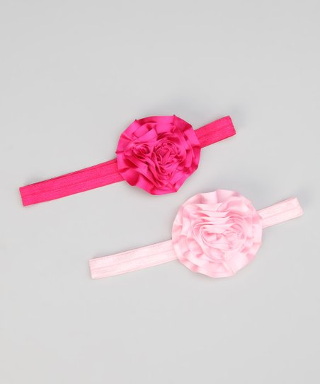 Hot Pink &amp; Light Pink Satin Ribbon Flower Headband Set