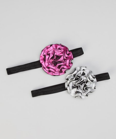 Pink & Silver Satin Ribbon Flower Headband Set