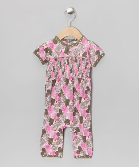 Pink & Olive Heart Smocked Organic Romper - Infant