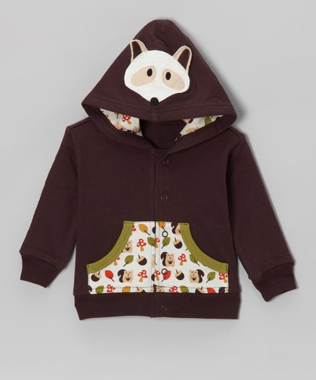 Brown Raccoon Organic Button-Up Hoodie - Infant & Toddler