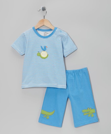 Blue Stripe Organic Tee & Shorts - Toddler