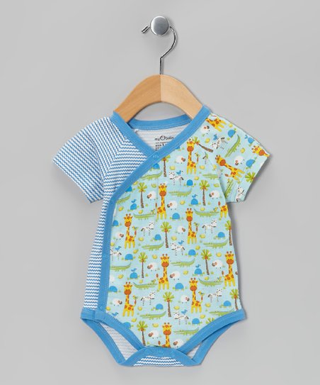 Blue Stripe Jungle Organic Wrap Bodysuit - Infant