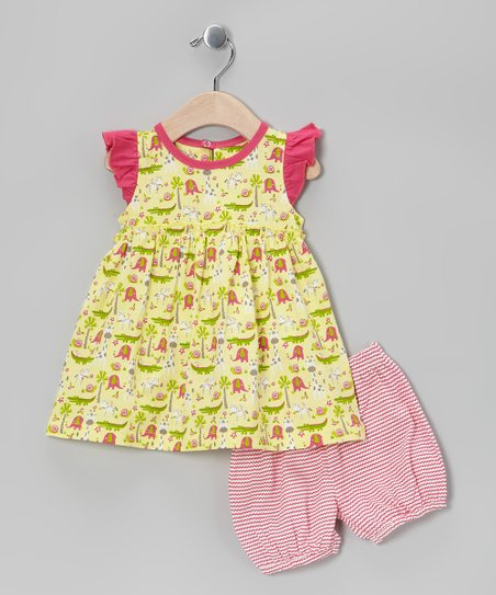 Yellow Jungle Organic Dress & Bloomers - Infant
