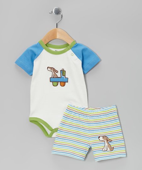 White & Blue Stripe Organic Bodysuit & Shorts - Infant
