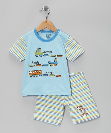 Light Blue Stripe Organic Tee & Shorts - Toddler