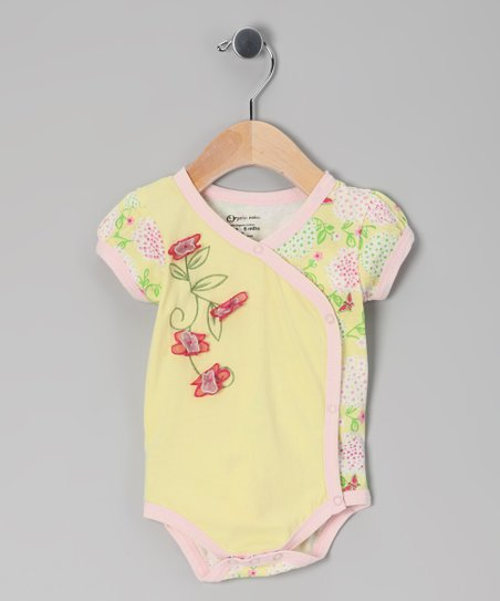 Yellow Organic Wrap Bodysuit - Infant