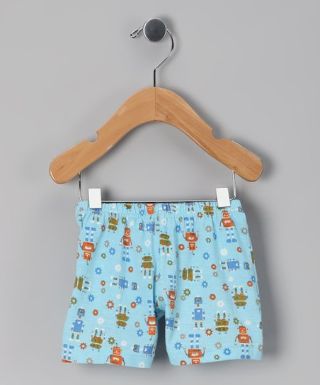 Blue Robot Knit Organic Shorts - Infant & Toddler