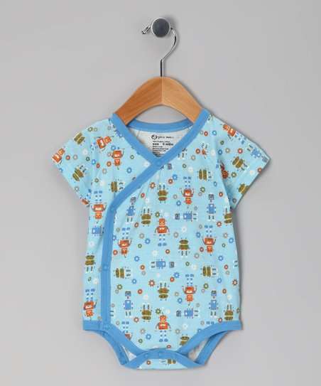 Light Blue Robot Organic Wrap Bodysuit - Infant