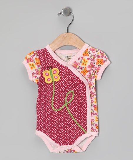 Pink Butterfly Organic Wrap Bodysuit - Infant