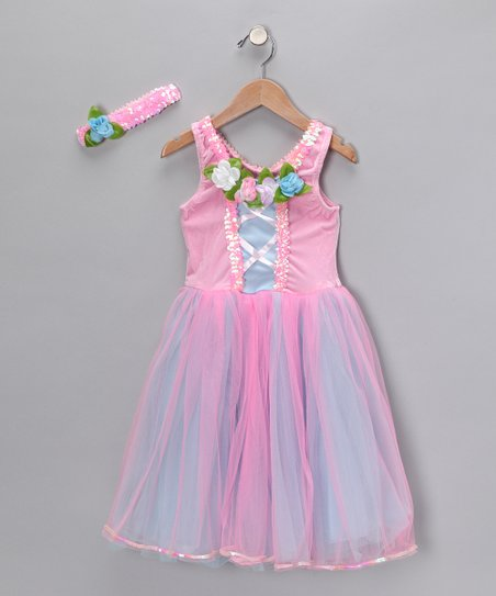 Pink Rose Ruffle Dress & Headband - Toddler & Girls