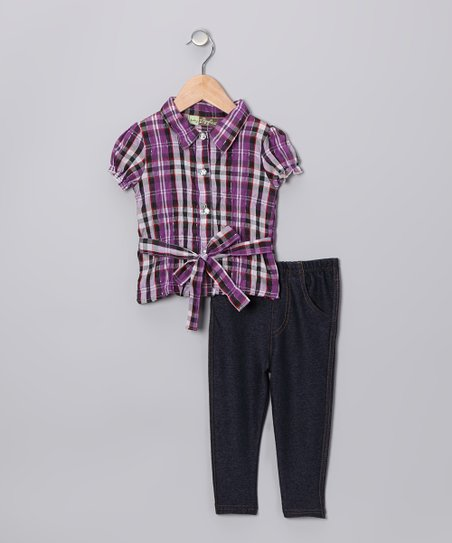 Purple Plaid Top & Jeggings - Toddler