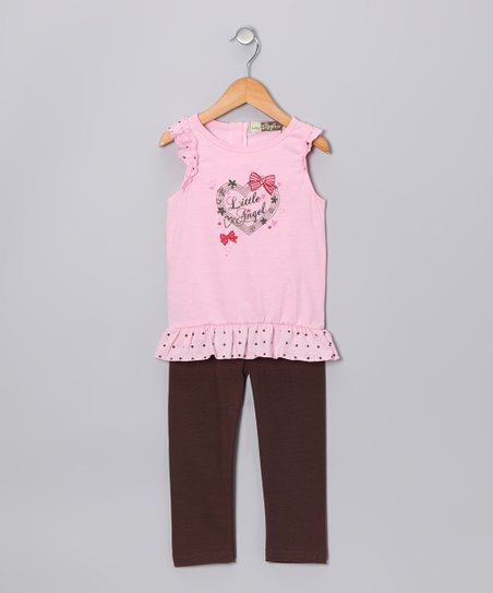 Pink & Brown 'Little Angel' Tunic & Leggings - Infant & Toddler