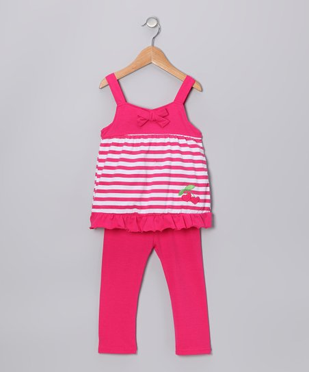 Fuchsia Heart Cherry Tunic & Leggings - Infant