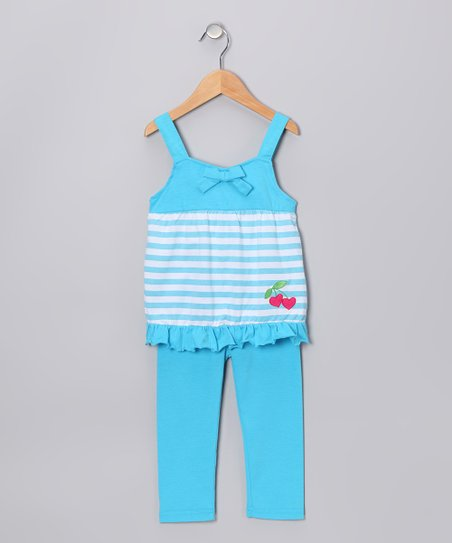 Aqua Heart Cherry Tunic & Leggings - Infant