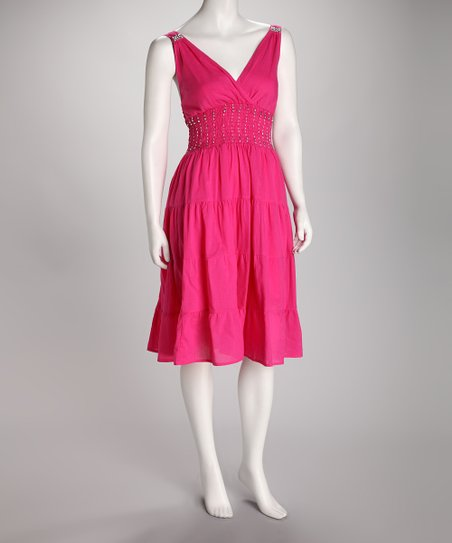 Fuchsia Beaded Plus-Size Surplice Dress
