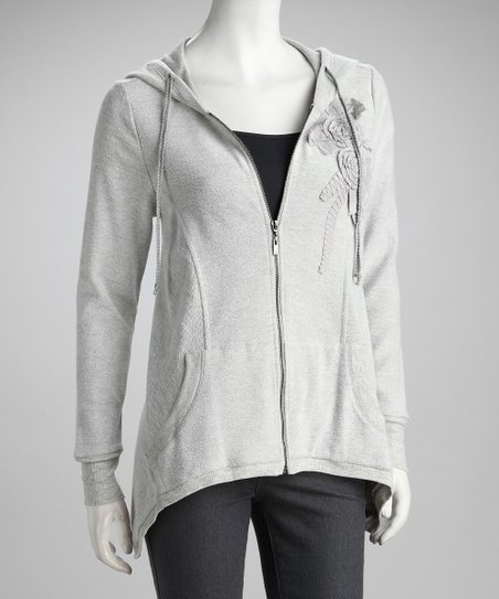 Gray Flower Zip-Up Hoodie