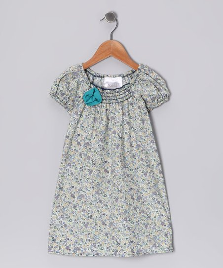 Blue Ditsy Peasant Dress