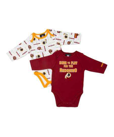 White & Red Washington Redskins Long-Sleeve Bodysuit Set - Infant