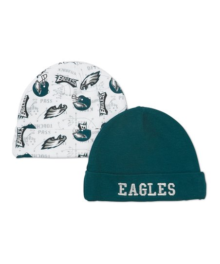 White & Green Philadelphia Eagles Beanie Set